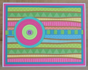Handmade Colorful Birthday Card With 3D Button and Colorful striped Ribbon-Southwestern Colors; fun happy card!