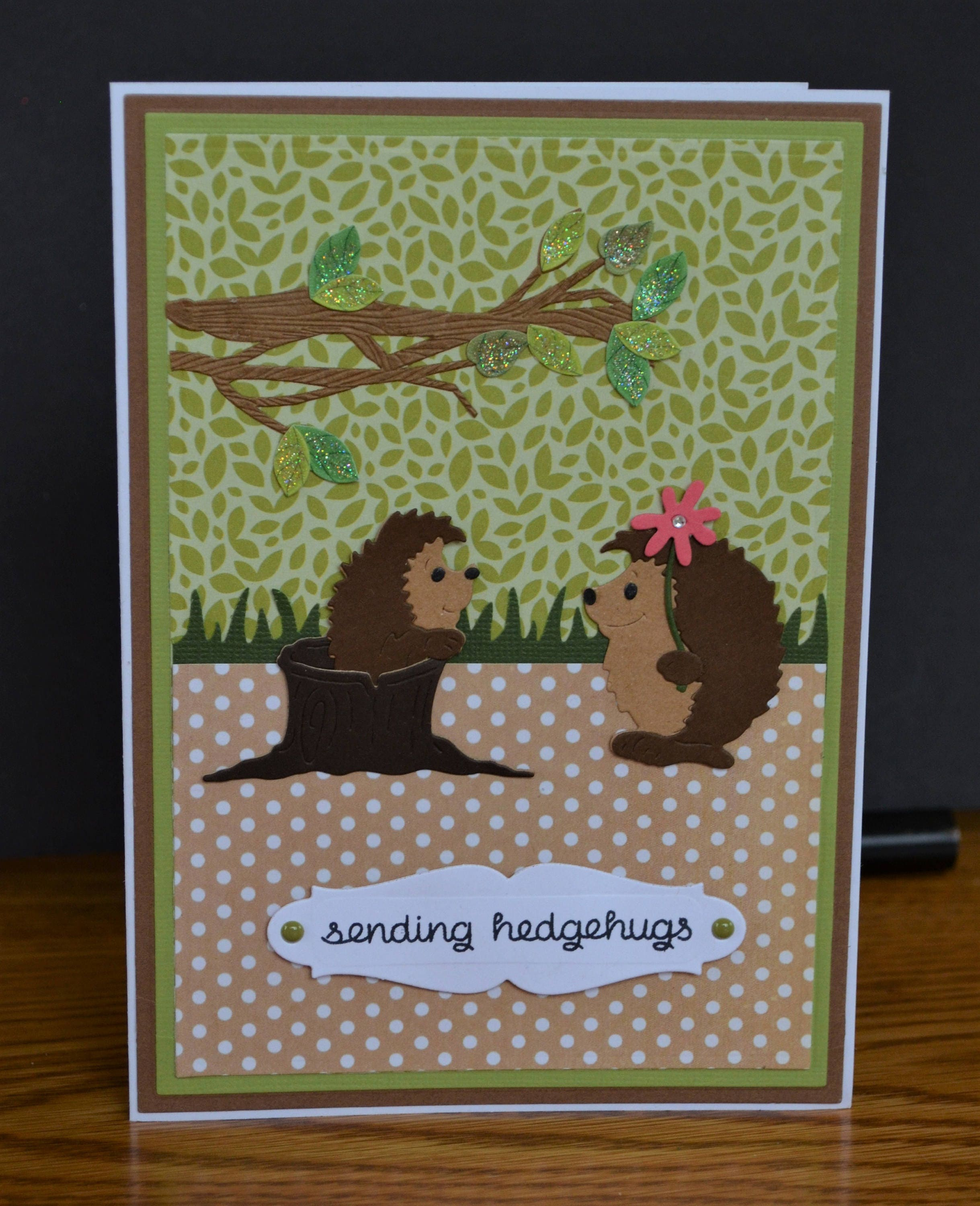 Handmade Greeting Card With Cute Decut Hedgehogssending Etsy