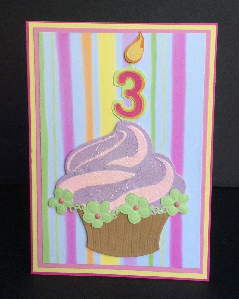 3D Cupcake Handmade Birthday Card 1 2 3 4 5 Year Old Girl