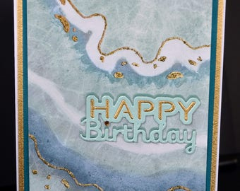 Handmade Abstract Happy Birthday Card With Unique Watercolor Design-Blues, Golds Glitter Metallic Cardstock