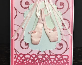 Handmade Dance Card with 3D Ballet Shoes-Happy Birthday, Congratulations, Blank Card With Ballet Shoes