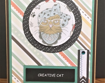 Creative Cat Handmade 3D Greeting Card-Happy Birthday or Friendship card with Bohemian Cat and Creativity Theme Stitched shapes