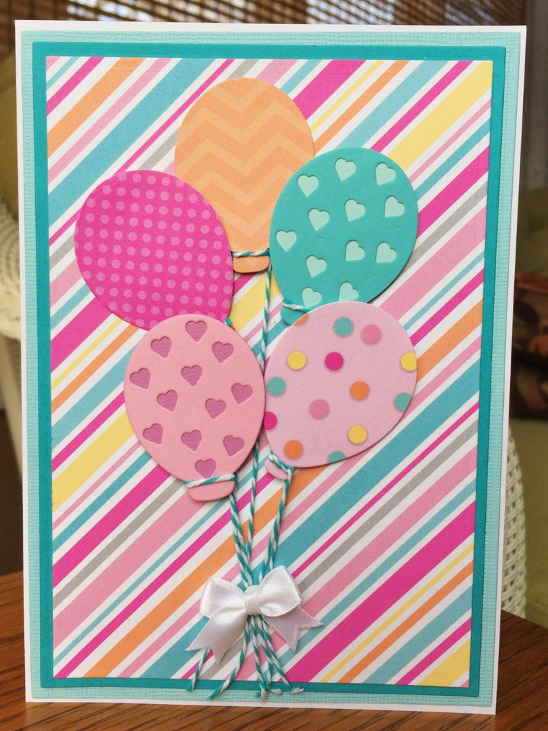 bouquet of balloons handmade birthday cardhappy birthday