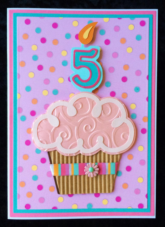 3d cupcake handmade birthday card1 2 3 4 5 year old girl