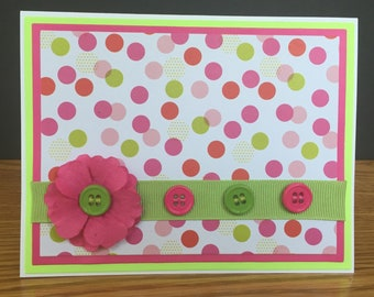 Handmade Blank Card With 3D Paper Flower And Buttons-Happy Birthday, Mother's Day, Thank You, Congratulations