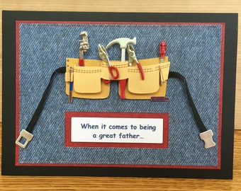 """Handmade Father's Day or Birthday Card With 3D Tools and Tool Belt-""""You nailed it!"""" Handmade Father's Day or Birthday Card"""
