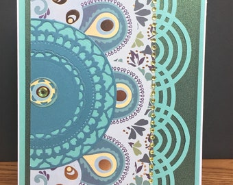 Handmade Bohemian Themed Card with Gold and Turquoise-Happy Birthday, Mother's Day, Thank You, Wedding, Friendship Card-