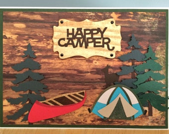 Handmade Happy Camper Card-Birthday,Happy Fathers Day, Best Things in Life, Best Dad Card-Canoe, Tent, Fir Trees, Deer Handmade Card