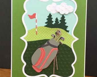 Golf Theme Handmade Happy Father's Day or Happy Birthday Card-Golf Course, 3D Golf Bag, Male Card, Golf Clubs
