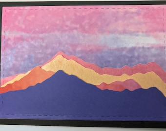 Handmade Beautiful Colorful Mountain Sunset scene on black background; layered mountain diecuts; 5 x 7