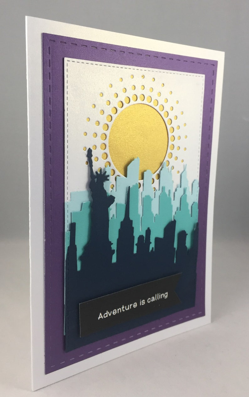 Promotion New Job Theater Tourism Vacation Handmade New York City skyline 3D Greeting Card-Adventure is Calling Retirement College