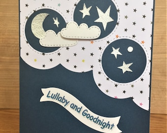 Handmade Cute Lullaby Card with 3D Clouds, Moon and Stars-Welcome Baby, New Born, Baby Shower Card