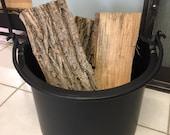 Round Metal Firewood Bucket, Handmade, Home Decor, Contemporary, Designer, Kindling Bucket, Heavy Duty
