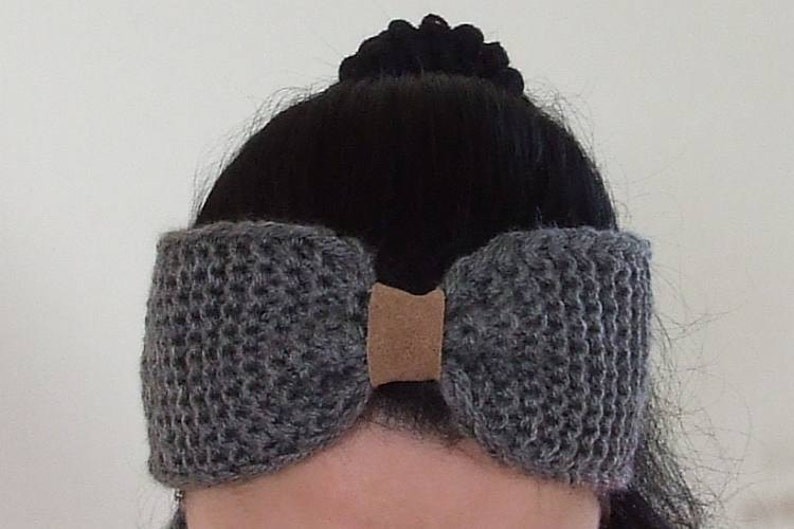 Hand Knitted Turban Grey Ear Warmer Womens Knit Headband College Student Gift Buy 2 get 1 Free