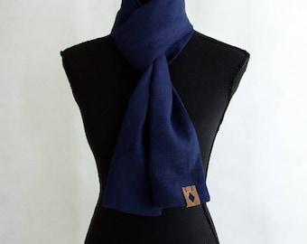 Gift for Him, Linen Summer Scarf,  Navy Blue Linen Scarf for Men, Boyfriend Gift, Groom Gift