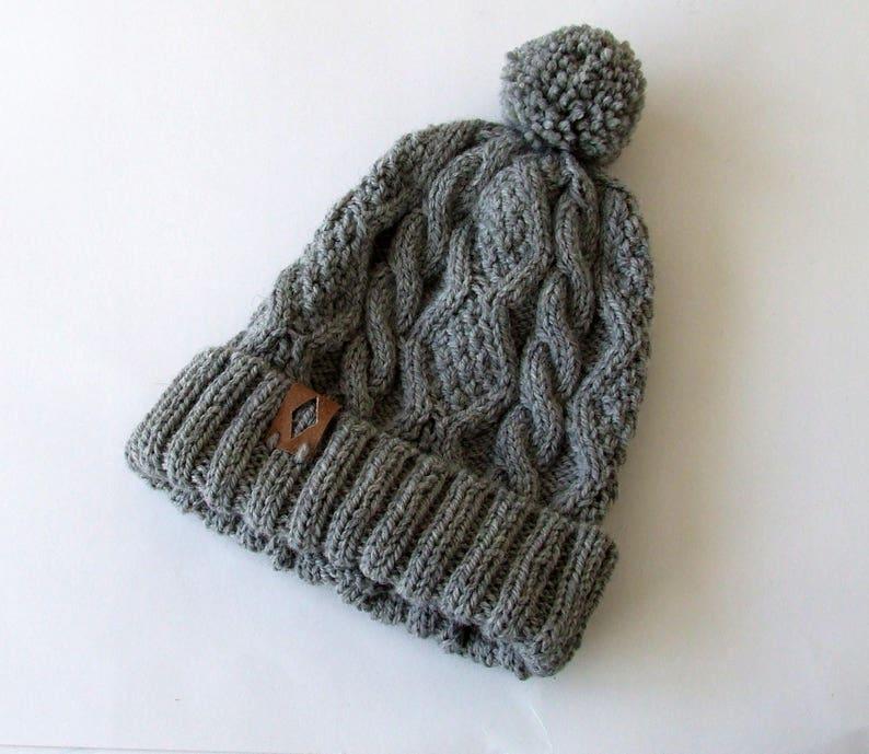 7134a5fb492 Chunky Wool Beanie Hat Hand Knit Beanie with Pom Pom Grey