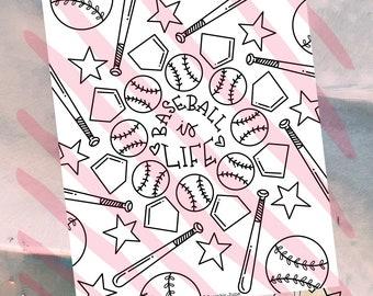 Baseball is Life Coloring Page | Digital Download | Printable Coloring Page | Adult Coloring | Kid Coloring