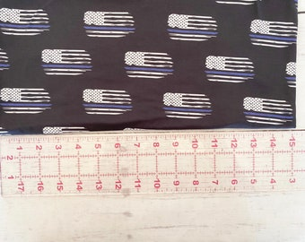 Exclusive Blue Line Distressed Flag | Cotton Lycra | in stock, ready to ship, super soft, custom fabric