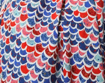 RETAIL Patriotic Mermaid Scales Red White Blue   Cotton Lycra   in stock, ready to ship, super soft, custom fabric