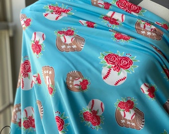 Baseball Floral Blue | Double Brushed Poly | in stock, ready to ship, super soft, custom fabric