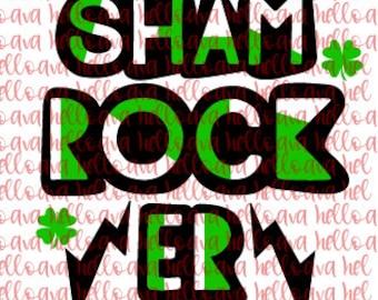 Shamrocker SVG, Cut file, DXF, St. Patty's Day, St. Patrick Days, Digital Download, Cricut Cut File, Silhouette cut file