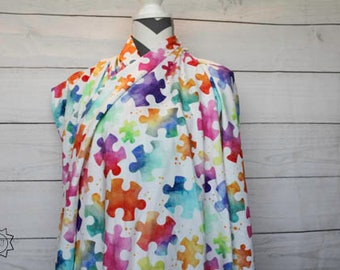 Watercolor Rainbow Puzzle Pieces Autism Awareness | Cotton Lycra | in stock, ready to ship, super soft, custom fabric