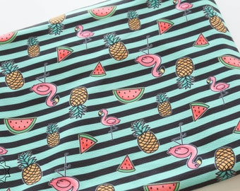 Exclusive Summer Vibes Mint Stripes Flamingo | Liverpool Fabric | in stock, ready to ship, custom fabric, 2 way stretch Bullet