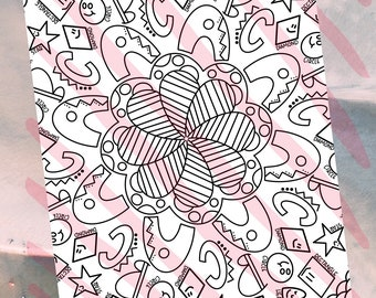 ABC Shapes Coloring Page | Digital Download | Printable Coloring Page | Adult Coloring | Kid Coloring
