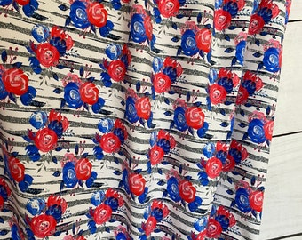 Silver Striped Patriotic Floral Red White Blue | Cotton Lycra | in stock, ready to ship, super soft, custom fabric