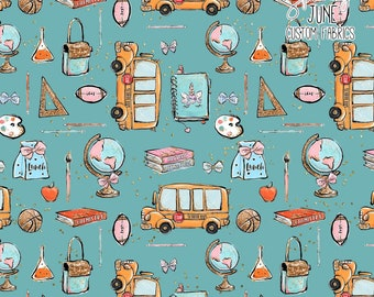 Back to School Teal Unicorn School Bus | Cotton Woven | Quilting Cotton | Mask Making Fabric |