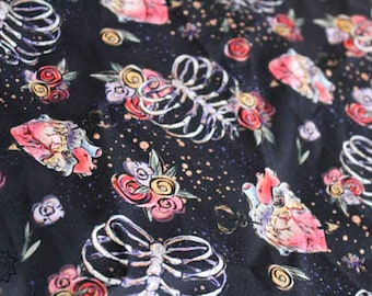 Halloween Fabric Anatomy Floral Rib Cage Beating Heart | Quilting Cotton | Mask Making Fabric | Blanket Fabric