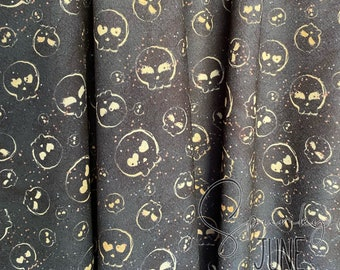 Charcoal Gold Skulls | Liverpool | in stock, ready to ship, custom fabric, 2 way stretch Bullet