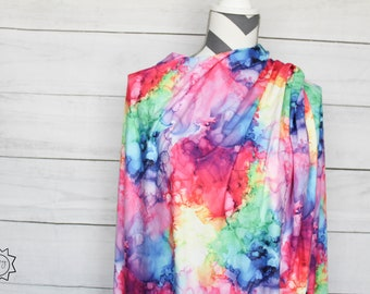 Rainbow Smoke | Double Brushed Poly | in stock, ready to ship, super soft, custom fabric