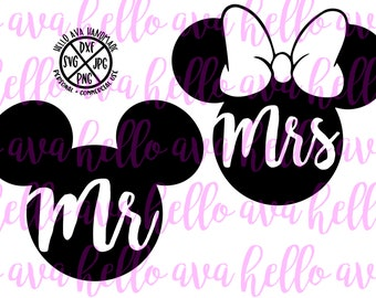 Mr and Mrs SVG, Minnie and Mickey Mouse Inspired Digital Download, png, dxf, jpg, mr and mrs cut file, disney inspired cut file, instant dl
