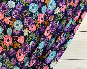 RETAIL Aspen Floral Navy   Bamboo Lycra   in stock, ready to ship, super soft, custom fabric
