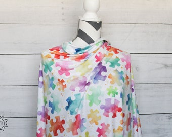 Rainbow Puzzle Pieces Autism Awareness Larger Scale | Double Brushed Poly | in stock, ready to ship, super soft, custom fabric