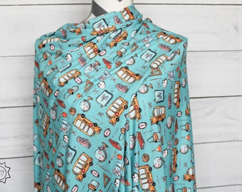 Teal Back To School Unicorn | Double Brushed Poly | in stock, ready to ship, super soft, custom fabric