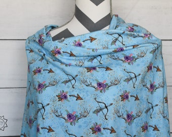 Wild and Free Bow and Arrows and Deer Antlers Floral | Cotton Lycra | in stock, ready to ship, super soft, custom fabric