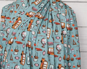 RETAIL Back To School on Teal School Bus Globe Unicorn   Cotton Lycra   in stock, ready to ship, super soft, custom fabric