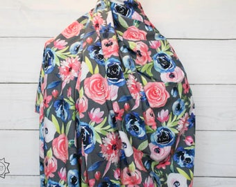 RETAIL Spring Watercolor Floral on Gray   Cotton Lycra   in stock, ready to ship, super soft, custom fabric