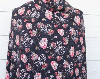Rib Cage Heart Anatomy Halloween Fabric | Cotton Lycra | in stock, ready to ship, super soft, custom fabric