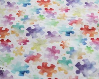 RETAIL Rainbow Watercolor Puzzle Pieces MEDIUM SCALE Autism Awareness   Quilting Cotton   Mask Making Fabric   Blanket Fabric