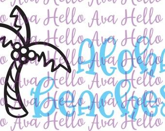 Aloha Beaches Vector, SVG, Cut File, DXF, summer fun, palm tree, digital download, cricut, silhouette, clip art, hand drawn, hand lettered