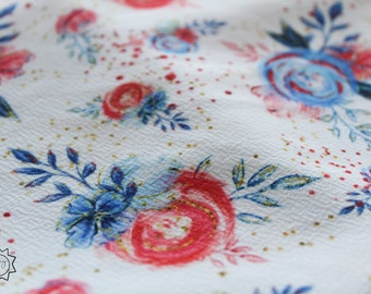 American Floral on White | Liverpool Fabric | in stock, ready to ship, custom fabric, 2 way stretch Bullet