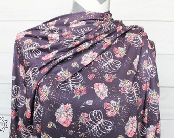 Anataomy Heart & Rib Cage Floral | Double Brushed Poly | in stock, ready to ship, super soft, custom fabric