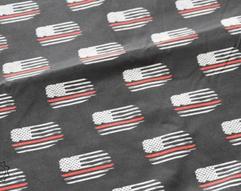 RETAIL Faded Charcoal Red Line Distressed Flag   Quilting Cotton   Mask Making Fabric   Blanket Fabric