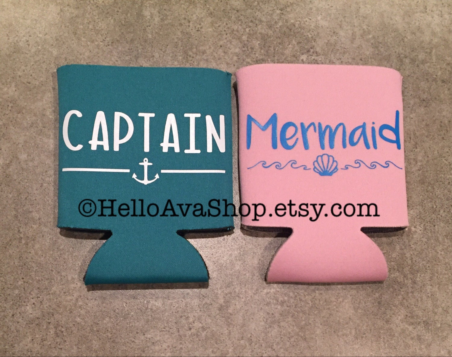 Captain Mermaid Couple Can Coolers Neoprene Collapsible   Etsy
