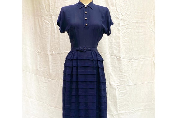 40's Dress / 1940's Dress / Navy 40's Dress with P
