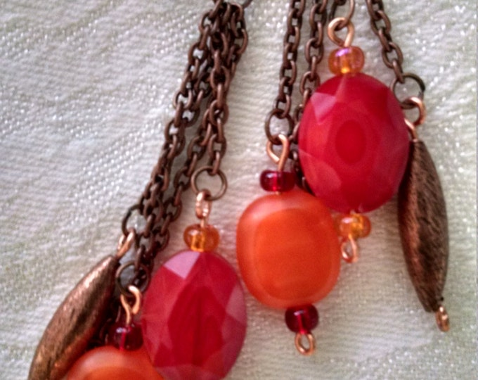 Featured listing image: Red and orange stone earrings with antiqued copper chain