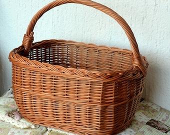 Handmade Willow Basket, Handmade Wicker Basket, Country Kitchen Basket, Woven Picnic Basket, Handmade Woven Basket, Rectangular Basket